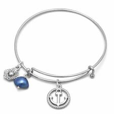 Expandable Anchor Charm Fashion Bangle Bracelet Womens Jewelry Sterling Silver