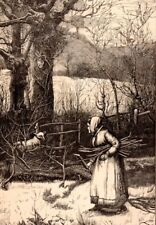 Antique Victorian Art print engraving 1887 Frosty Day Old Woman lost sheep