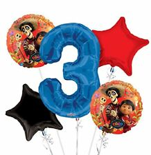 Disney Coco Jumbo 3nd Birthday Party Foil Mylar Balloon Bouquet 5 pieces Set