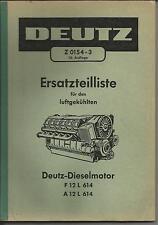 1967 DEUTZ Z 0154 - 3 Ersatzteilliste Dieselmotor A F 12 L 614 luftgekühlter V12