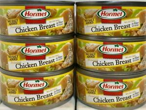 Hormel Chicken Breast No Salt Added in Water with Rib Meat 5 oz  ( Pack of 6 )
