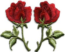 Deep red roses pair flowers floral retro boho appliques iron-on patches S-542