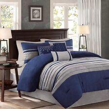 Beautiful Modern Casual Blue Navy Grey Soft Luxury Comforter Set & Pillows New!
