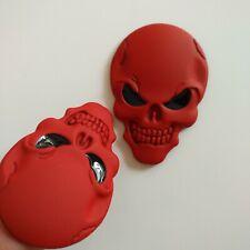 2 x Car SUV Fenders Tank Cover Red Metal 3D Skull Head Emblem Sticker Badge