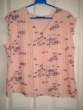 Jacques Vert Top Size XL Pink with Lilac Flowers Sleeveless