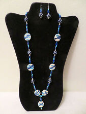 Venetian? Glass Blues White Black Artisan Necklace Earrings Jewelry Set