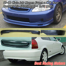 Mu-gen Style Front (PU) + CTR Rear Lip (PU) + Grill (ABS) Fit 99-00 Civic 3dr