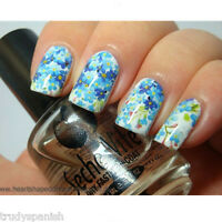 Nail Art Water Decals Wraps Blue White Floral Flowers UV Tips Decoration 1408
