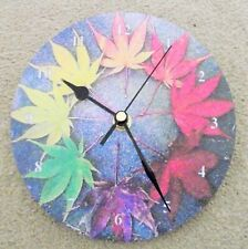 """Cannabis Leaves 7""""wall clock, upcycled stunning"""