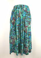 Phool Midi Maxi Skirt Size 12 Aztec Floral Print 100% Cotton Pockets Retro 80s
