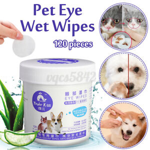 120Pcs Wet Pet Eye Wipes Dog Cat Tear Stain Remover Pet Eye Grooming Cleanin