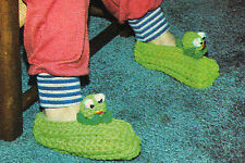CUTE Child's Frog Slippers/Crochet Pattern INSTRUCTIONS ONLY