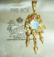 VINTAGE 1950s Czech Filigree Opalescent AB Crystal Dropper Pendant for Necklace