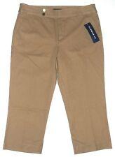Chaps Womens Size 10 Khaki Tan Beige Capri Crop Pants Slimming Fit New $60