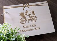 """Personalised """"Bicycle"""" lovebirds Wedding / Engagement Guest Book"""