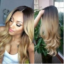 """22"""" Long Wavy Wig Ombre Black To Blonde Heat Resistant Synthetic Full Hair Wig"""