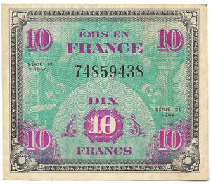 France - billet de 10 francs drapeau - série de 1944 SUP ! VF.18.01 WW2