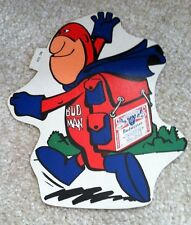 """1970s Bud Man Budweiser Beer Back Pack  Advert Promo Sticker/Decal Appox 7x6"""""""