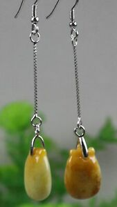 Certified fashion yellow natural jadeite pendant earrings 925 silver 17382