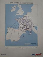 4/1992 PUB COMPAGNIE AERIENNE AIR INTER AIRLINE LIGNES AERIENNES FRENCH AD