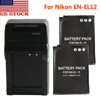 EN-EL12 Battery For Nikon Coolpix A900 P310 P330 AW100 AW120 S9500 S610 +Charger