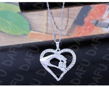 Silver Toner Mother Child Hand In Hand Crystal Heart Pendant Necklace Gift P29
