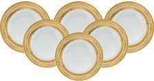 "Royalty Porcelain 6-pc Gold Rim Luxury Set of Plates for 6 (Dinner 10.5"")"