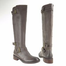 Women s Enzo Angiolini Sayin Gray Leather Wide Calf Knee High Boots Sz 6 M  ... a7a94636044b