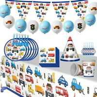 Construction Car Tableware Set Balloons Pennant Birthday Party Decor Supplies