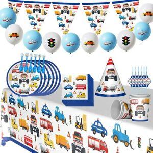 Engineering Vehicle Theme Tableware Set Kids Birthday Party Supplies Decoration