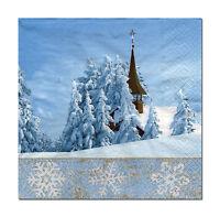4 Motivservietten Servietten Napkins Weihnachten Advent Winterlandschaft (406)