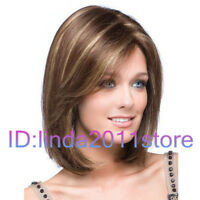 Hot sexy Women's ladies short Brown mixed Mix Natural Hair full wigs + wig cap