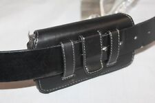 Black Horizontal Belt Clip Holster Pouch For Cell Phone WITH BIG THICK CASE On