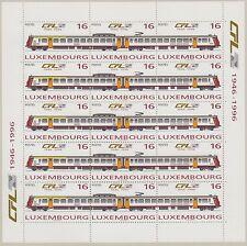 Ferrocarriles: Luxemburgo 1996 Sheetlet nacional de empresa ferroviaria SG1414a x5 Estampillada sin montar