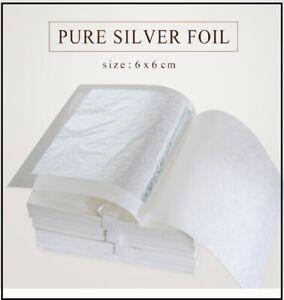 10 SHEETS Silver Leaf Pure  999/100% EDIBLE 6CM X 6CM (E174)  food grade