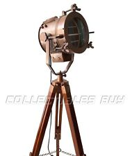 Antique Searchlight Vintage Copper Look Rustic Tripod Floor Lamp LED W/Standing
