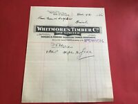 Whitmore's Timber Co 1936 English & Foreign Hardwood Ipswich   receipt  R34465