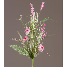 Shades of Pink Wildflowers and Ferns Faux Spray
