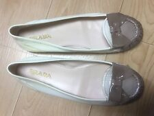 PRADA Ombre Beige Gray Loafers Patent Leather Sz 7.5 $599