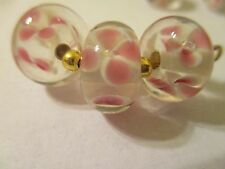 12 Refined Pink & White Floral Flower 13 x 9 mm  Lampwork  Glass Beads  APL