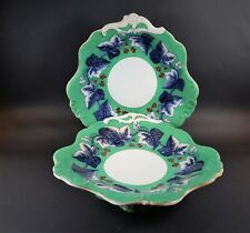 Pair Antique Davenport Pearlware Ivy Wreath Pattern Compotes  England  c. 1830