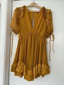 ASOS Design Mini Ruffle Dress - Mustard/Gold
