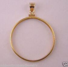 Coin Bezel Frame U.S.OLD SILVER DOLLAR Reeded Edge 14K Gold Filled Soldered Bail