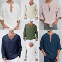 Mens Summer T-Shirt Long Sleeve Hippie Casual Shirt V-Neck Beach Yoga Tops B11