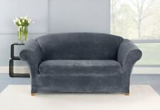 NEW Stretch Plush Two Piece Sofa Slipcover  Storm Blue