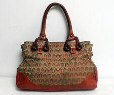 Liberty of London Bag Brown Leather & Green Silk Tote Handbag