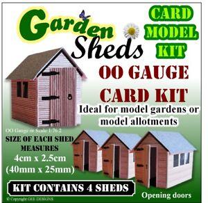 x 4 Garden or Allotment Sheds OO Gauge Model Railway Card Kit  4 sheds in kit.