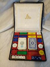 ancien coffret A.J.A jeu de carte poker jetons et dés poker