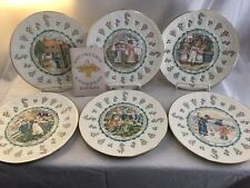 (6) Very Nice 1977 Royal Doulton Kate Grenaway Almanac Zodiac Plates