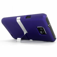 Deluxe Purple Hard Case Cover With Chrome Stand Samsung Galaxy S2 SII i9100 NEW